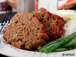 Old-Fashioned Meat Loaf - Meat loaf has become so trendy that we find it on menus everywhere from diners to fancy restaurants. They're all a little different, but our favorite is topped with this sweetened caramelized glaze of ketchup and brown sugar. Mmm!   Read more at http://www.mrfood.com/Beef/Old-Fashioned-Meat-Loaf-456/ml/1#76Q6oM2TIEgrMi0C.99
