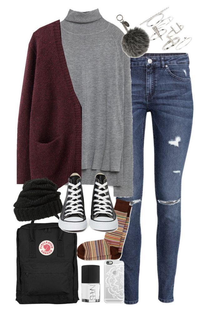 """Outfit for university in winter"" by ferned on Polyvore featuring H&M, Fjällräven, Zara, Acne Studios, Leith, Paul Smith, Converse, Topshop, Fendi and NARS Cosmetics"