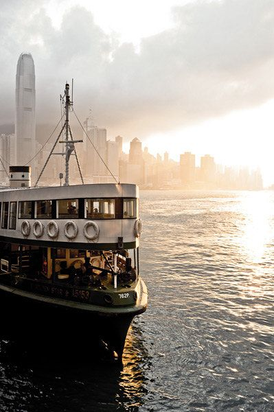 Ferry boat in Kowloon Hong Kong at sunset by aejiou on Etsy