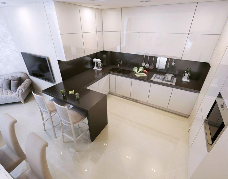 Small modern kitchen black and white theme