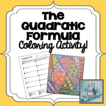 Quadratic Formula Coloring Activity | Color activities ...
