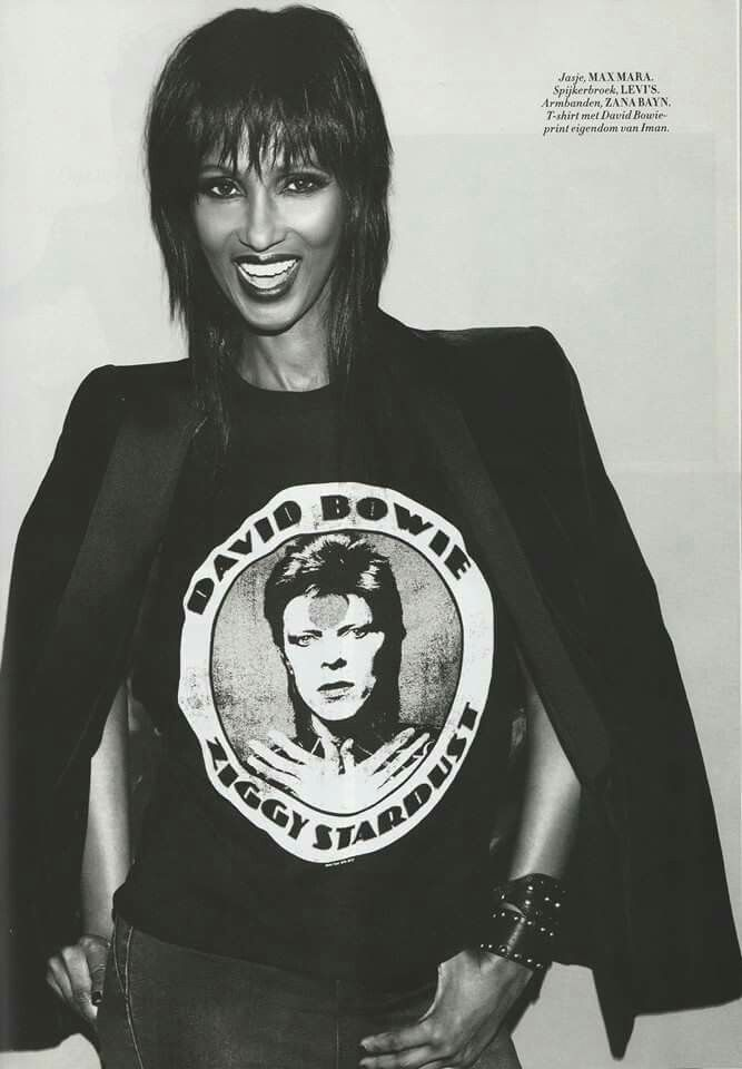 ~Iman~wearing [[ husband ]] David Bowie ''T' shirt ~