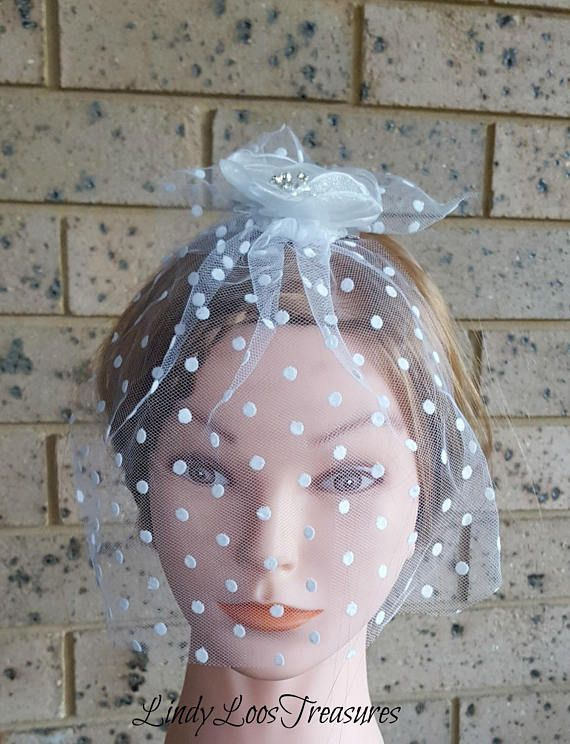 Small Fascinator White Flower with Pearls and Crystals