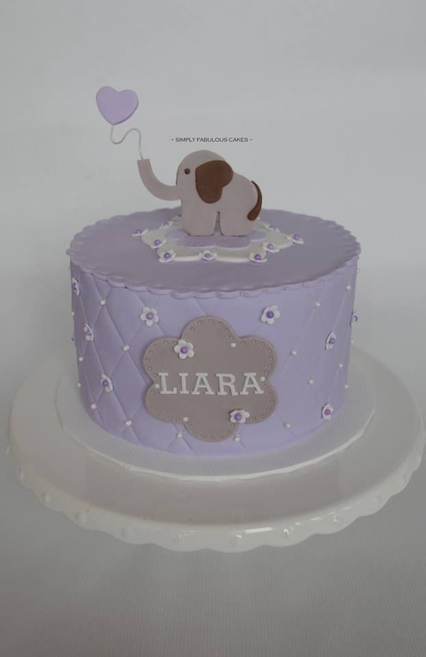 Baby Shower Cake Purple And Grey Baby Elephant Baby