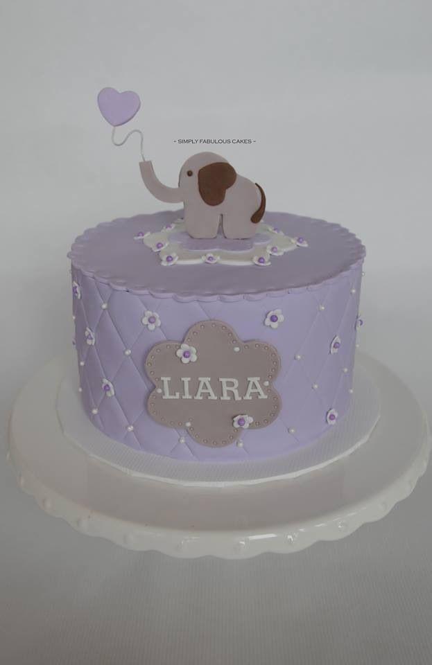 Baby Shower Cake Purple And Grey Baby Elephant Baby