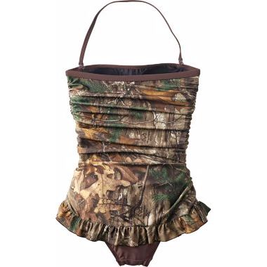 Realtree Girl® Women's Retro Shirred Bandeau One-Piece Swimsuit