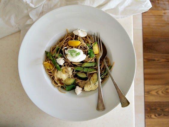 Vegetarian spaghetti, heatlhy lunch