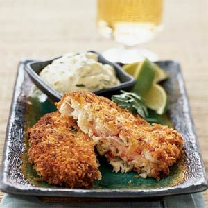 Salmon-Stuffed Crab Cakes. The salmon is smoked, which adds an interesting layer of flavor to a basic crab cake. Wasabi makes the sauce spicy; try it with fried catfish too.