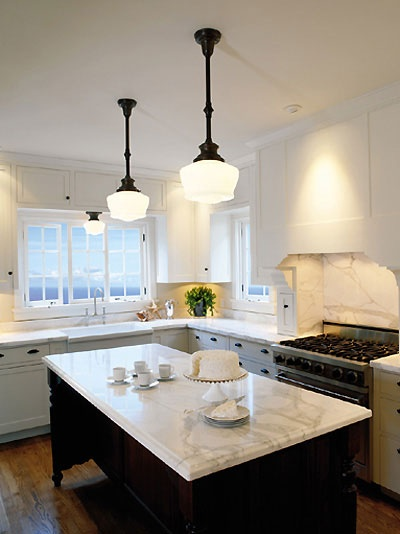Elegant schoolhouse pendant lights, marble bench top & shaker style cabinets-beautiful