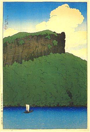 Senjomaku Cliff at Lake Towada  by Kawase Hasui, 1919  (published by Watanabe Shozaburo)