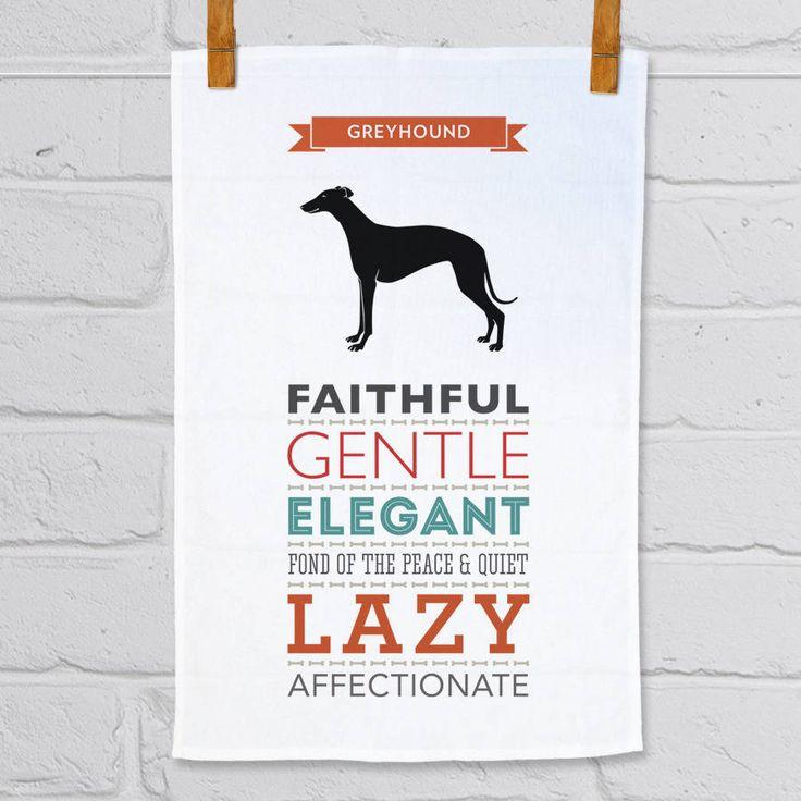 Greyhound Dog Breed Traits Tea Towel