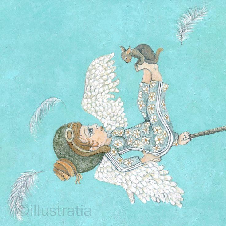 Acrylschildering op paneel 30x30 cm. Uit de 8-delige serie: 'angelical antics.' titel: 'upside down'