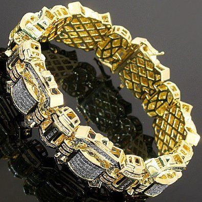 14K-Yellow-Gold-Mens-Diamond-Bracelet-14.54-Ctw