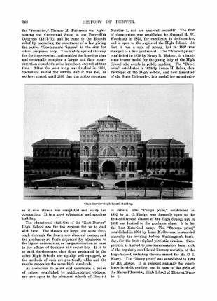 1889  p 754 East High School, by Jerome Smiley History of Denver :: Denver Neighborhood