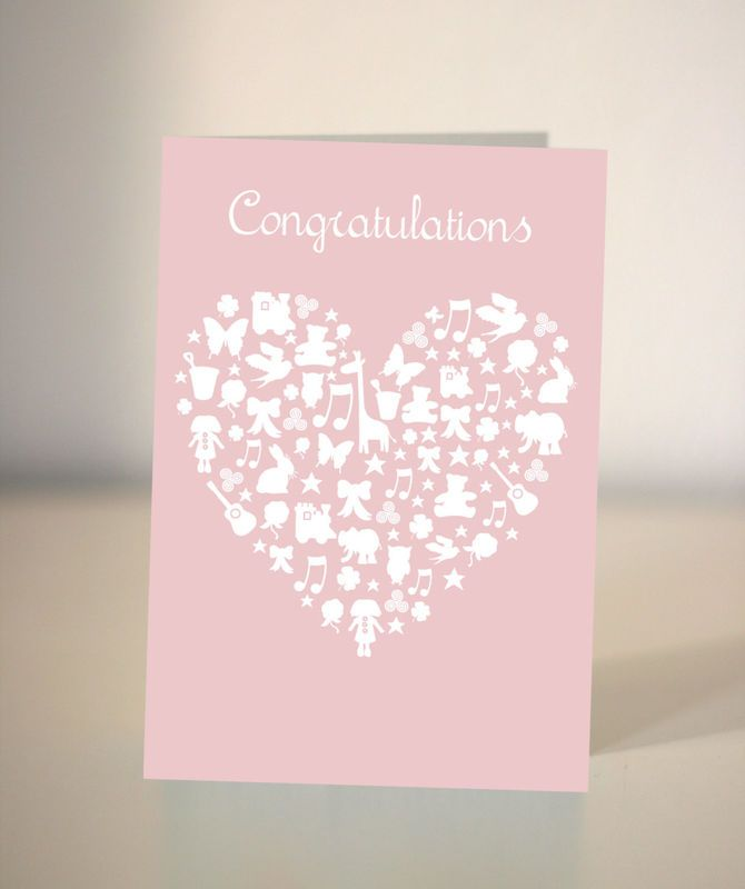 A congratulations card for a new baby A pastel pink (or choose a colour from the chart) new baby card. The card reads Congratulations. The heart is made up of toys, stars, ribbons, flowers and lots of baby things. I can change the text on request ...