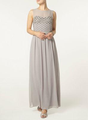 Dorothy Perkins Grey embellished bodice maxi dress- | Debenhams
