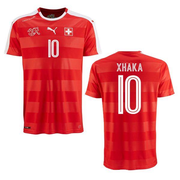 70bde8508 Granit Xhaka 10 2018 FIFA World Cup Switzerland Home Soccer Jersey ...