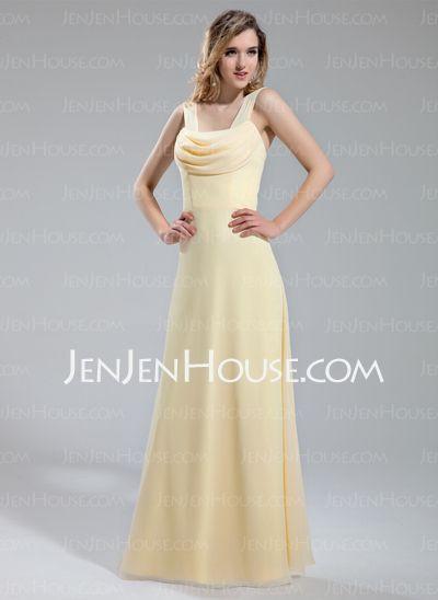 Bridesmaid Dresses - $112.99 - A-Line/Princess Cowl Neck Floor-Length Chiffon Bridesmaid Dress With Ruffle (007019650) http://jenjenhouse.com/A-Line-Princess-Cowl-Neck-Floor-Length-Chiffon-Bridesmaid-Dress-With-Ruffle-007019650-g19650