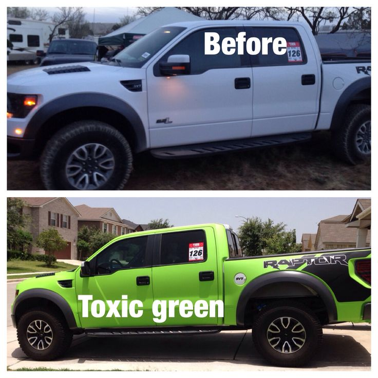 Black And White Ford: 2014 White Ford Raptor, Wrapped In Arlon Toxic Green And