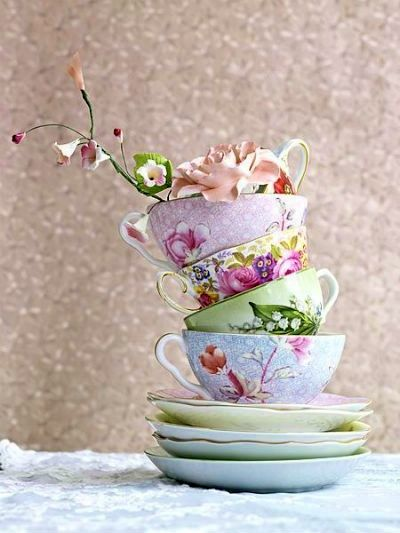 Teacups in lavender and blue,