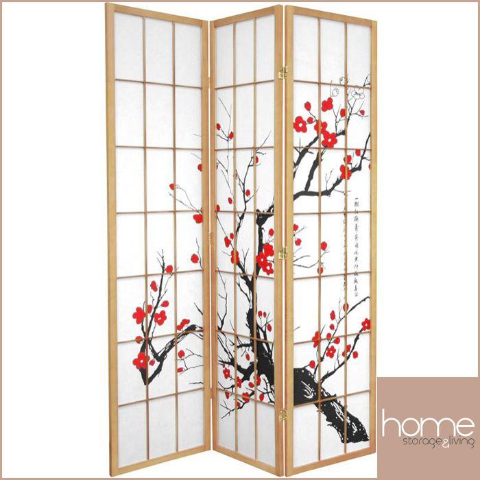 Natural Cherry Blossom 3 Fold Room Divider - www.hsandl.com.au