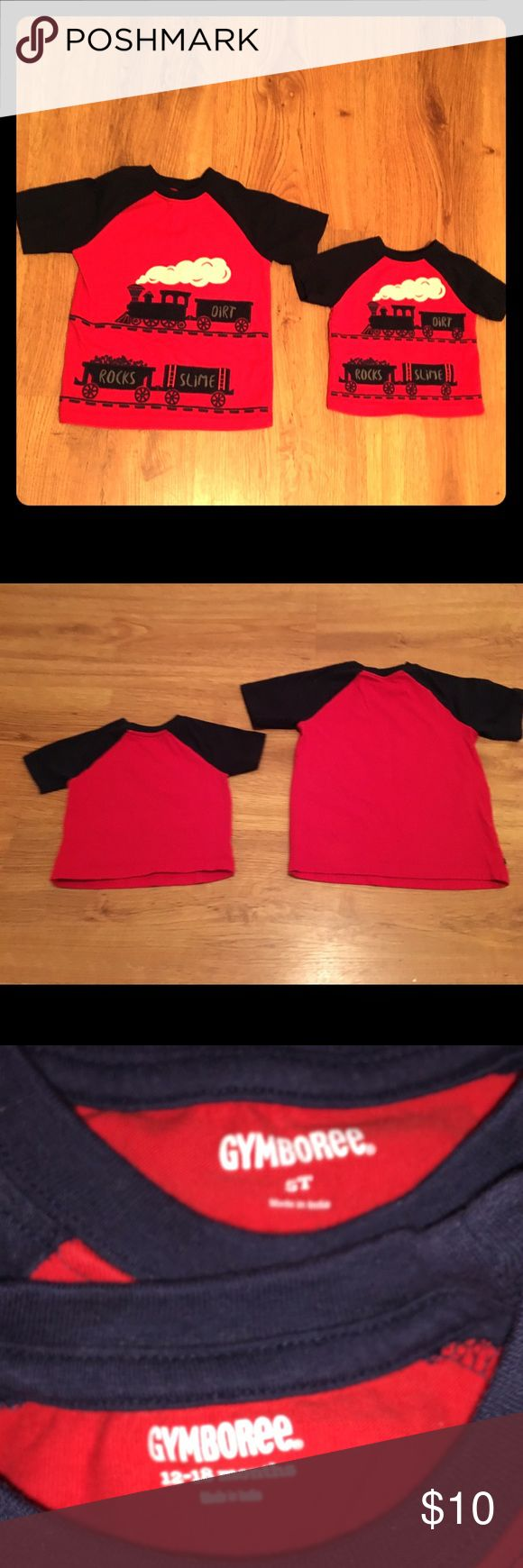 Gymboree Train Tees Gymboree Train Tees for boys is sizes 5T & 12-18 months. Only used once for pics with the grandparents and then washed. In excellent condition. Beautiful raised details. Would love for them to go to a new home together ❤️ Gymboree Shirts & Tops Tees - Short Sleeve