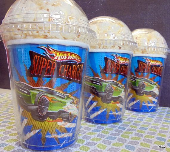Hot Wheels  Birthday Party Popcorn Boxes by JaymesPartyBox on Etsy