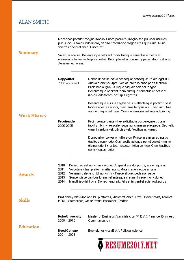 2017 Free Template, Resume template free and Free