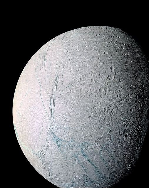 Icy Enceladus | One of Saturn's 62 moons-Water water everywhere-a Lake Superior lurks here as discovered by Cassini Space Telescope and reported today April 4,2014 in the Washington Post.