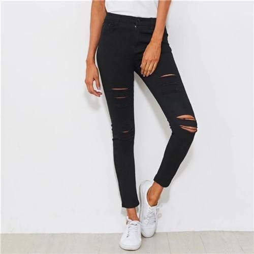 Distressed Skinny Black Jeans Streetwear Feste Knopfleiste Stretchy Denim Hosen 2019 Frühling Frauen Lange Zerrissene Jeans Schwarz XL