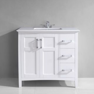 WYNDENHALL Salem 36-inch White Quartz Marble Top Single Sink ...