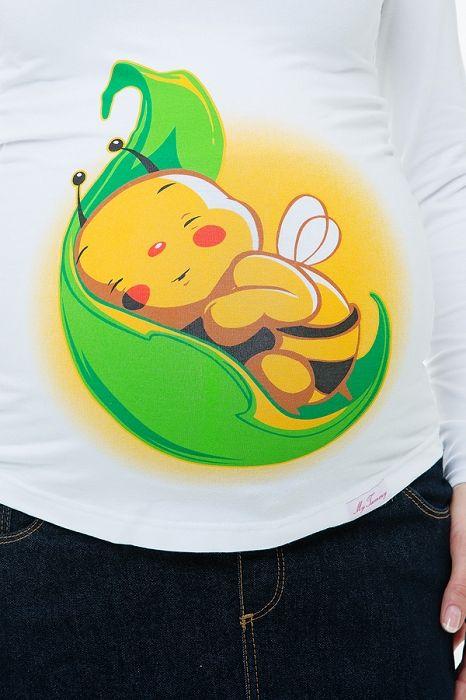 """Těhotenské tričko bílé """"Včelička na lístku"""" - My Tummy -Elegantní a praktická móda pro těhotné a kojící ženy"""