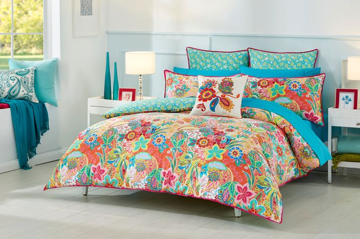 Taking inspiration from the bright, fresh colours of the Sixties, this design reflects the distinctively bold and psychedelic style of the decade #bedroom #bedbathntable
