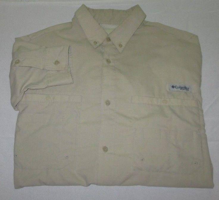 Men's COLUMBIA OMNI SHADE PFG Long Sleeve Fishing Shirt Sz XL - Beige - Nylon #Columbia #ButtonFront
