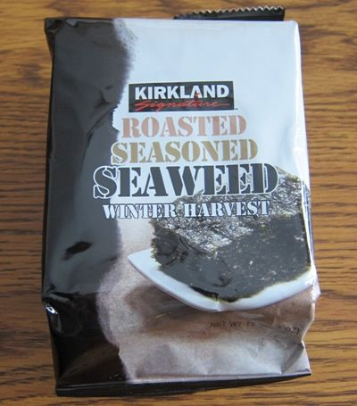 I love roasted seaweed snacks! Small thin pieces of dried seaweed are so addictive! These Kirkland Roasted Seaweed is from Costco.