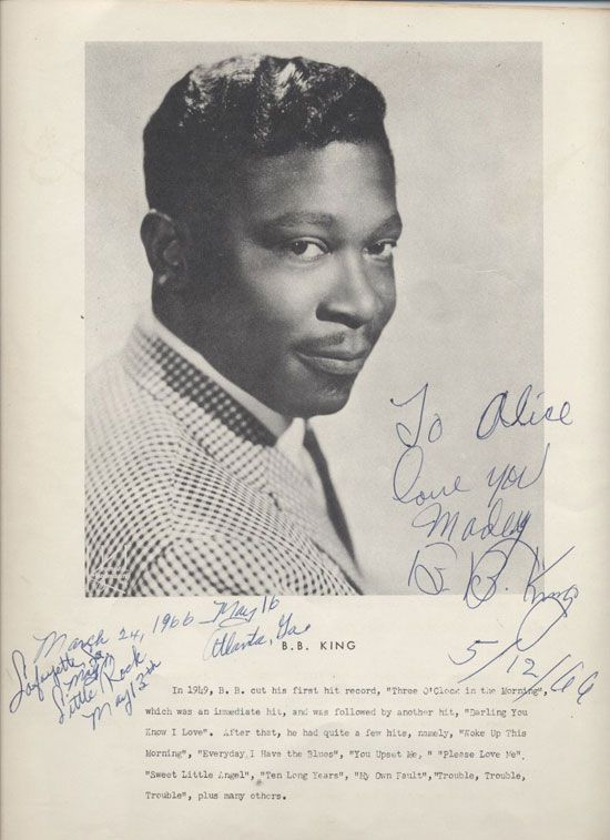 1925:  American blues guitarist B.B. King  was born in Itta Bena, Mississippi