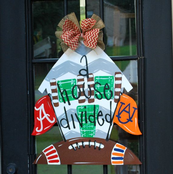 House Divided Door Hanger Wooden Football Door by LooLeighsCharm, $45.00