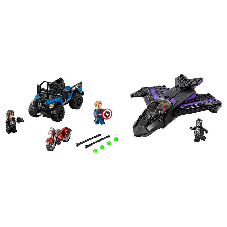 Role-play a super-hero pursuit with the Black Panther Jet, Captain America and Winter Soldier motorbike.