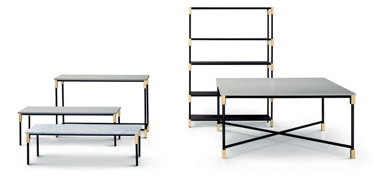"""Match"" shelving, tables, console  -- designed by Paola Vellaellen Bernhardt 2015 for Artflex.  The wooden shelves (in chocolate) can be stacked. The tops of the tables and  console are available in marble. The tubular frame is black matt painted, and the joinders becomes a precious decorative element in brass or burnished."