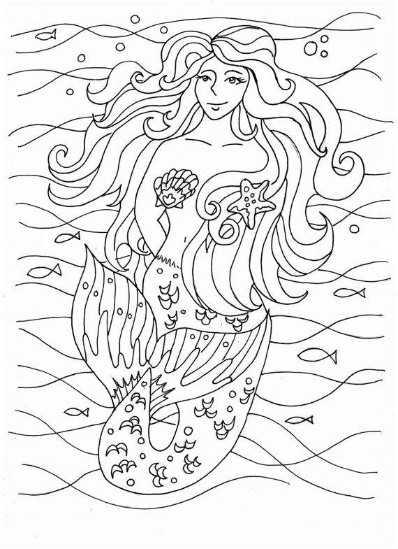 Moon Mermaid from Mermaid Coloring Book by Selina Fenech # ... |Moon Mermaid Coloring Pages