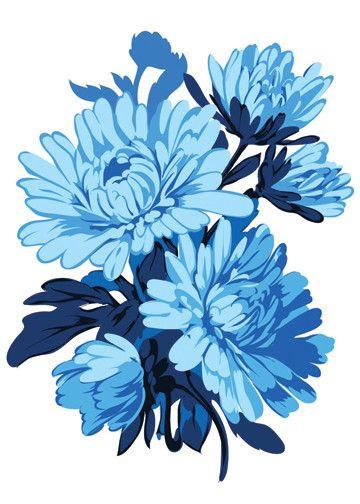 Blue Chrysanthemum Temporary Tattoo - Vintage Floral Tattoos