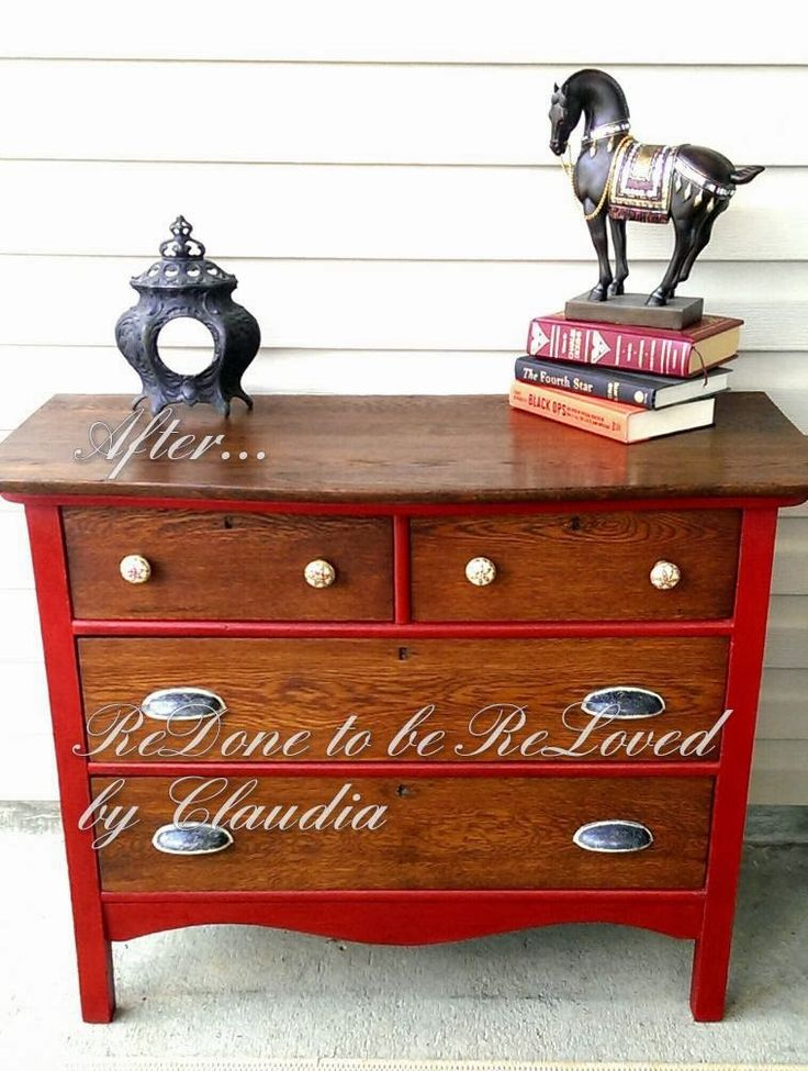 "ReDone To Be ReLoved: Antique Dresser Refinished and Painted ""Ruby"" Red"