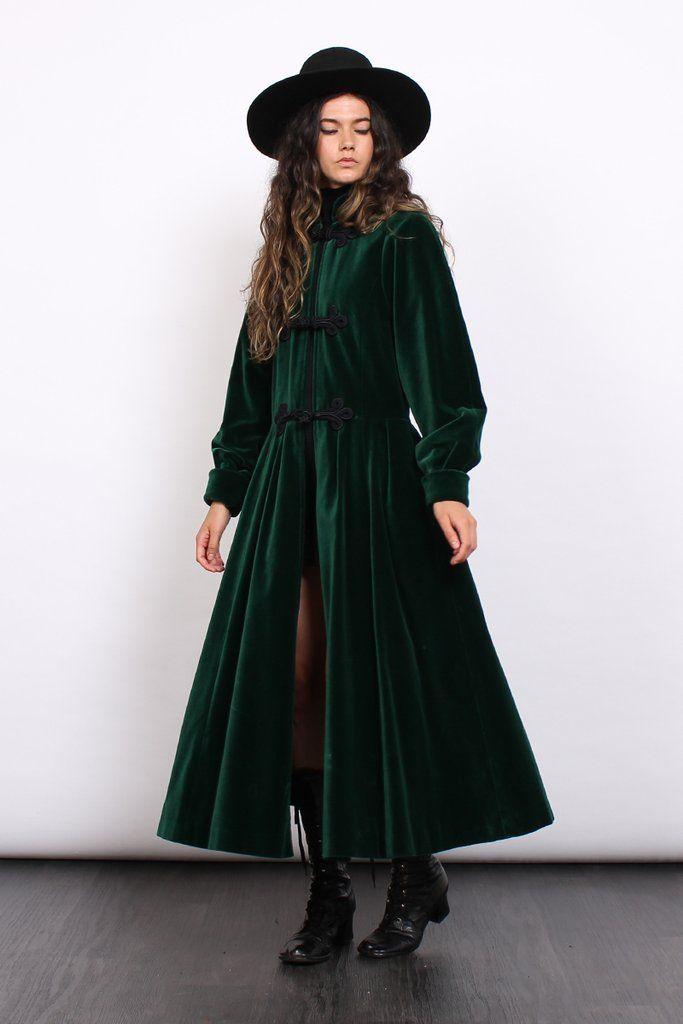 Vintage 60s Carven Emerald Velvet Frog Closures Maxi Coat