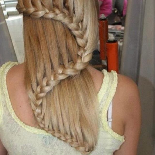 Pretty waterfall braid on long hair