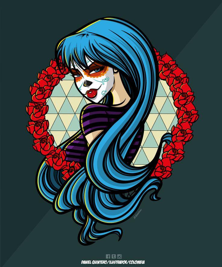 #Ilustracion #Illustration #Catrina #Girl #Ai #AdobeAi #AdobeIllustrator #Ilustradores #Comic #Colors #Vectores #Vector  Ilustrador: Daniel Quintero Colombia-cucuta  Vectores