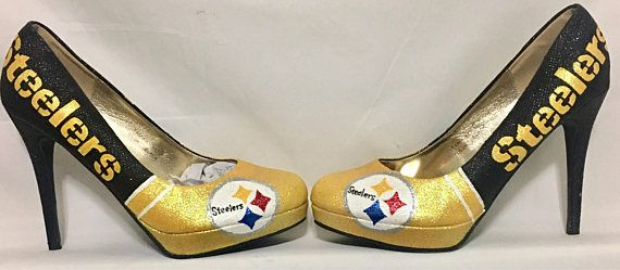 f323b721641 Pittsburgh Steelers inspired high heel made with glitter. This item is made  to order so