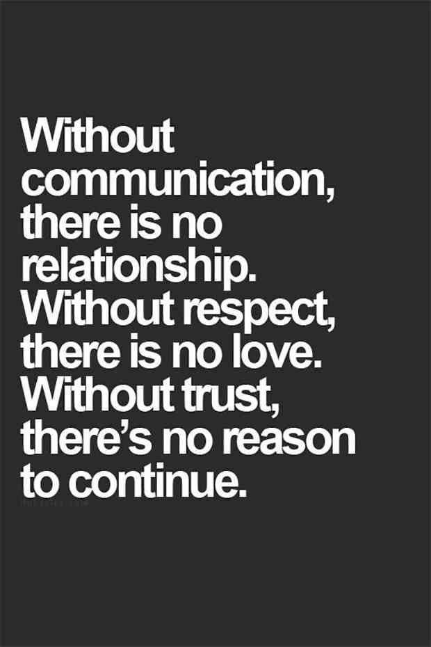 Without Communication There Is No Relationship Without Respect There Is No Love Without Trust There Relationship Advice Quotes Advice Quotes Trust Quotes