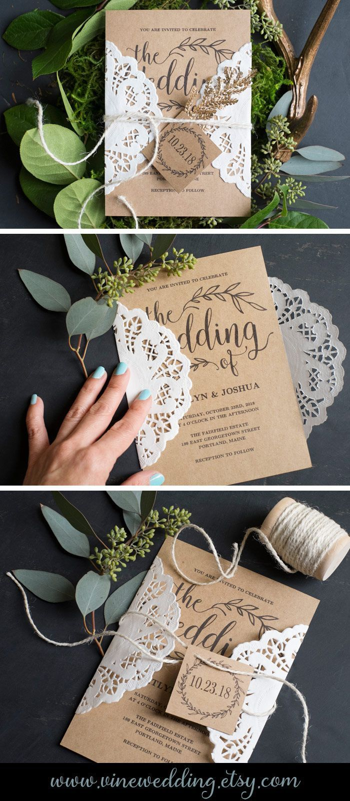 Easy and affordable DIY wedding invitation. #wedding #invitations #kraft # paper #rustic #diy #invitation #printable #vinewedding #budget #affordable #doiley