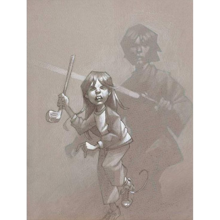 Sky Walker by Craig Davison is a limited edition print of a girl playing like she's Luke Sky Walker from Star Wars. She's wielding a golf club and her shadow is Sky Walker.
