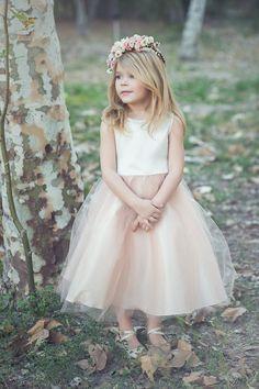 Satin and tulle champagne flower girl dress by KidsDreamDresses